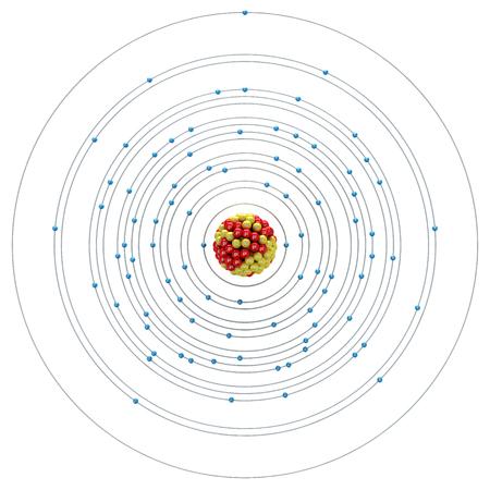 neutron: Francium atom on a white background Stock Photo