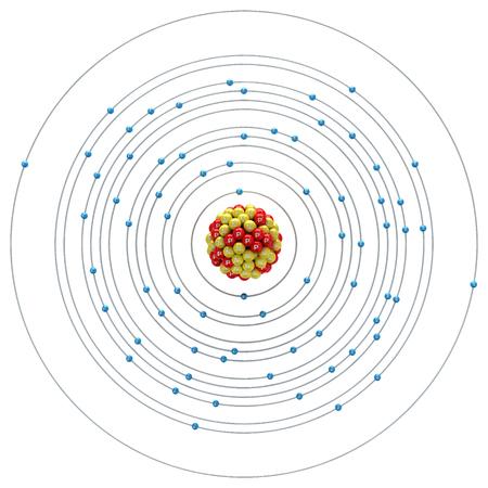 neutron: Ytterbium atom on a white background