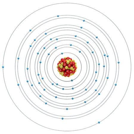 Barium atom on a white background