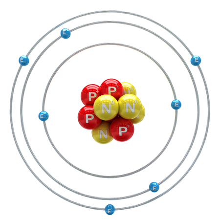 PROTON: Nitrogen atom on white background