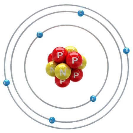 Átomo de carbono en el fondo blanco