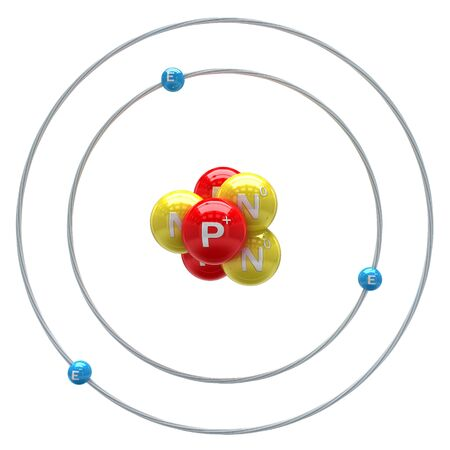 orbital: Lithium atom on white background
