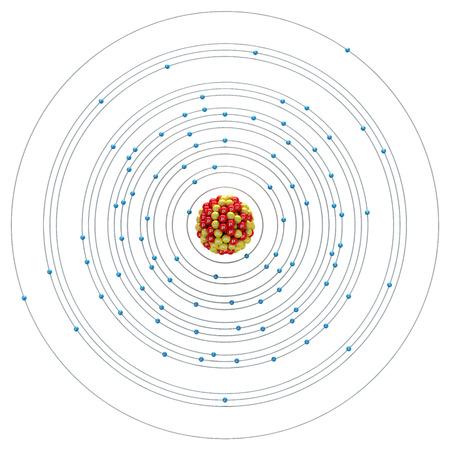 thorium: Thorium atom on a white background