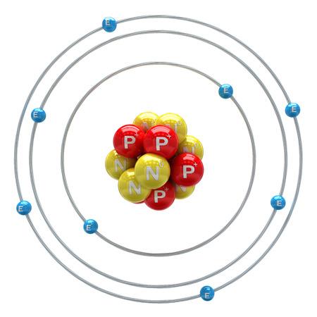 Oxygen atom on white background Stockfoto