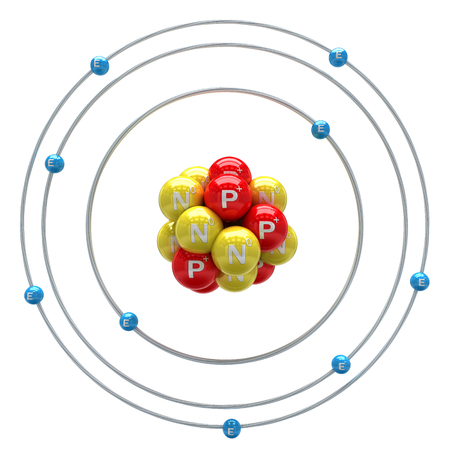 electrons: Florum atom on a white background