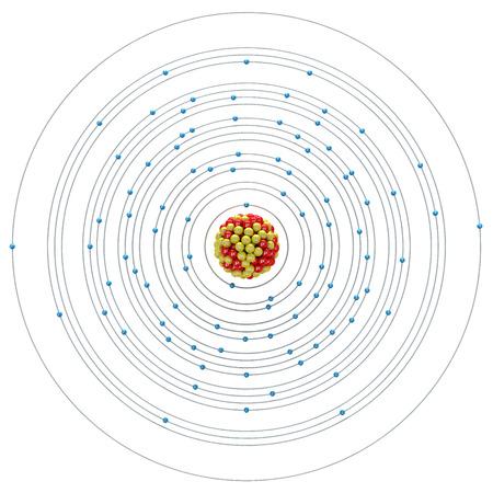 uranium: Uranium atom on a white background