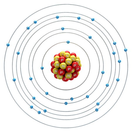 neutron: Zincum atom on a white background