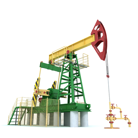 geological: Pumpjack(oil derrick) on a white (3d render)