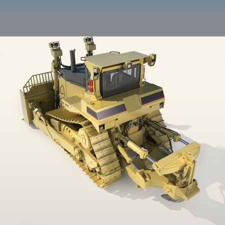 crawler tractor: Heavy dozer on tracks (3d render)
