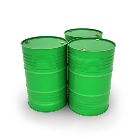 Green barrels on a white background (3d illustration) Stock fotó