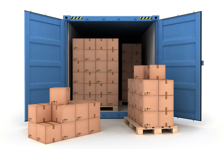Open Shipping Container with Cargo on a White (3d illustration) Stockfoto