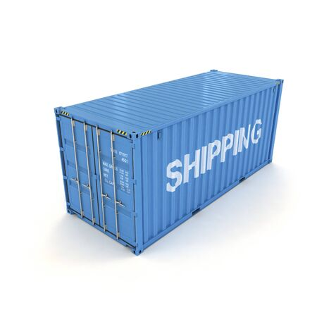 Shipping Container on a White (3d illustration) Stock Photo