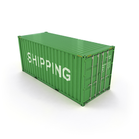 Shipping Container on a White (3d illustration) Standard-Bild - 92038056