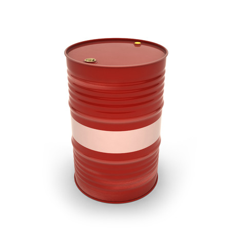 Red barrels on a white background (3d illustration) Standard-Bild - 92039035