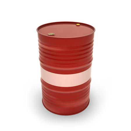 Red barrels on a white background (3d illustration)