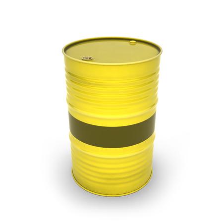 Yellow barrel on a white background (3d illustration) Stockfoto