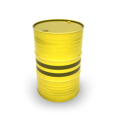 Yellow barrel on a white background (3d illustration) Standard-Bild - 92038060