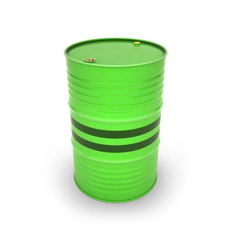 Green barrels on a white background (3d illustration) Stockfoto