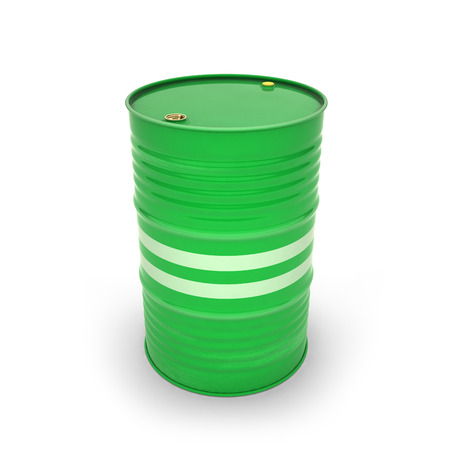 Green barrels on a white background (3d illustration) Standard-Bild - 92038089