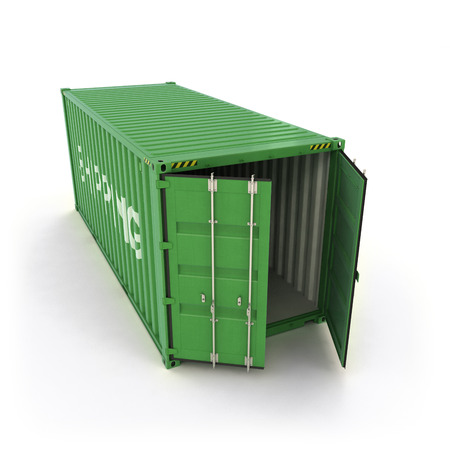 Open Shipping Container on a White (3d illustration) Stock Photo