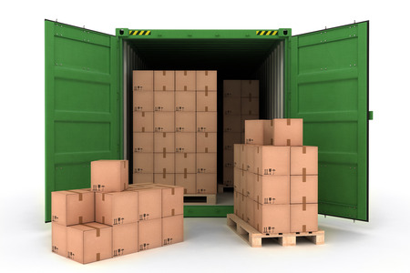 Open Shipping Container with Cargo on a White (3d illustration) Stock Photo