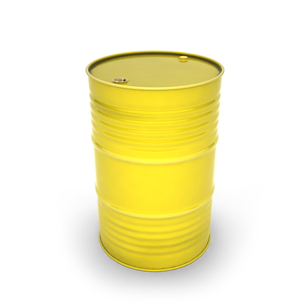 Yellow barrel on a white background (3d illustration) Zdjęcie Seryjne
