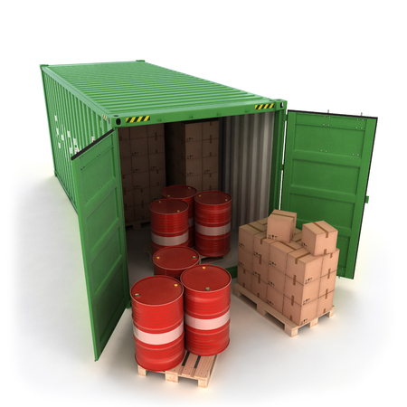 Open Shipping Container with Cargo on a White (3d illustration) Stock Illustration - 91951039