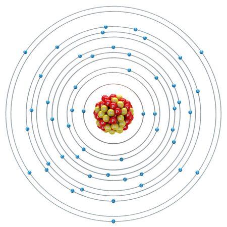 Stibium atom on a white background Stock Photo