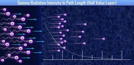 Gamma Radiation Intensity In Path Length (Half Value Layer) (3d illustration)