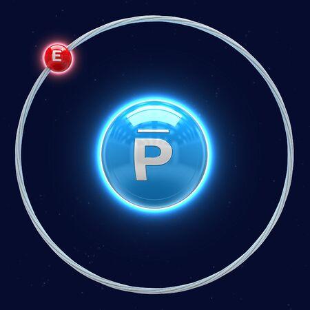 Antihydrogen atom on white background (3d illustration)