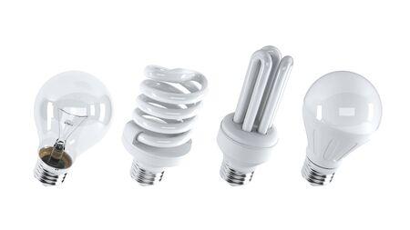 Different type of light bulbs. (3d illustration)