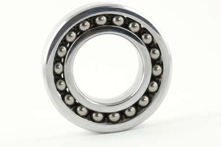 Single ball bearings on white background; isolated photo