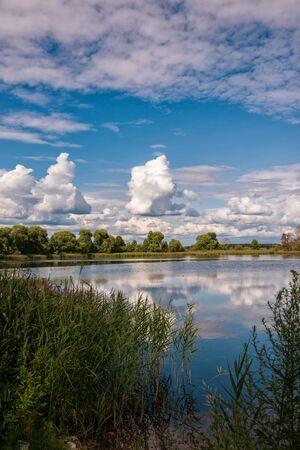 Monastery lake in sunny weather. Russian shrines. Joseph-Volotsky Monastery in Teryaev. Moscow region, Teryaevo.
