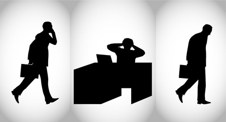 unrecognizable person: Vector illustration of a business persons mood during the working day