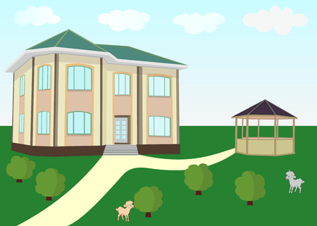 Vector illustration of a cozy house with a gazebo in the background of the nature