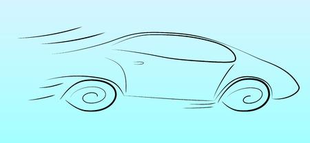 speeding: Vector illustration of a silhouette of a speeding car on a light background Illustration