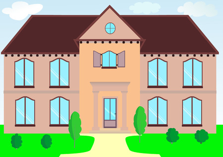 A two-storey house in light colors with a lawn vector illustration
