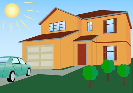 Budynek mieszkalny w jasnych kolorach z ilustracji wektorowych samochodu i trawników
