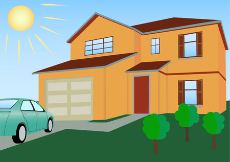 Residential house in bright colors with the car and lawn vector illustration Ilustracja