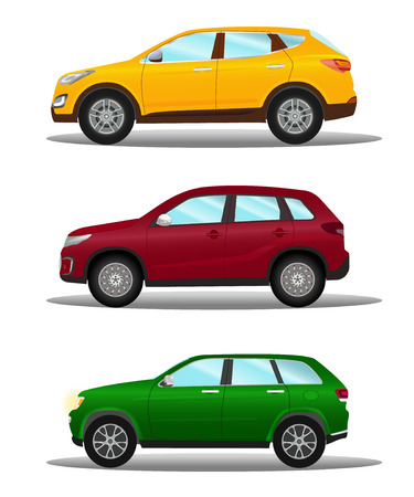 Vector illustration of a set of different off-road vehicles in three colors