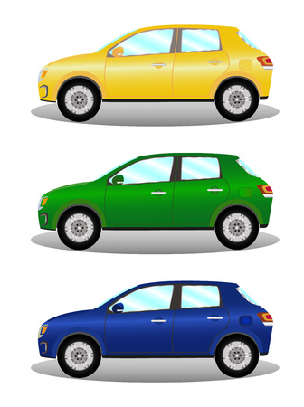 motor de carro: Car kit hatchback in three colors vector illustration Vectores