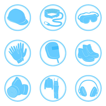 personal protective equipment: Set of icons personal protective equipment vector illustration in blue Illustration