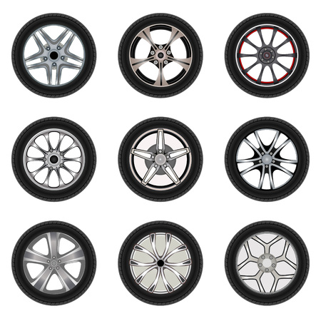 alloy wheel: Set of car wheels with a different design. Vector illustration on white background