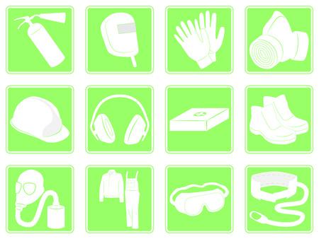 elementos de protecci�n personal: ilustraci�n vectorial conjunto de iconos verdes equipo de protecci�n personal