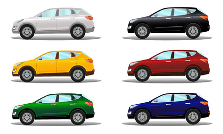 crossover: Set of crossover vehicles in a variety of colors. Vector illustration on a light background