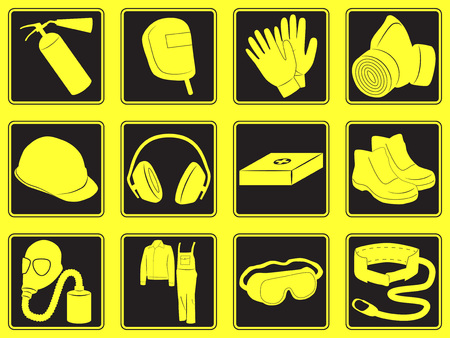 personal safety: Personal safety equipment icons. Vector illustration