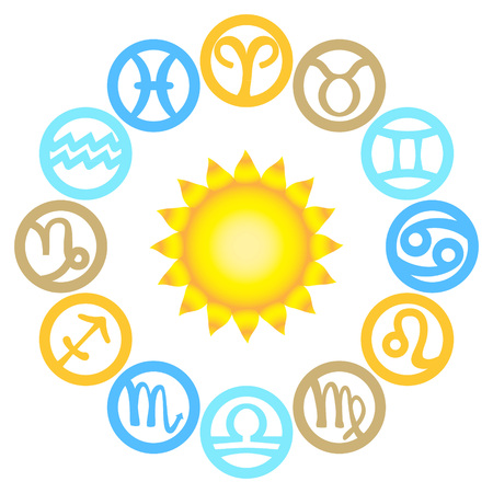 Set of zodiac signs located around the sun. Vector illustration