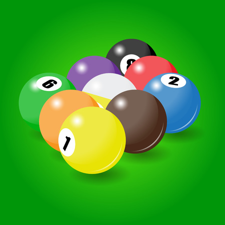 Billiard balls start position for nine-pool game. Bright vector illustration Illustration