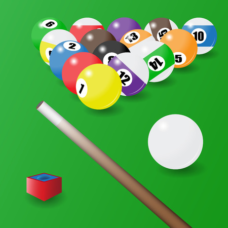 Eight-ball pool. Balls position, cue and a piece of chalk situated on a billiard table. Vector illustartion
