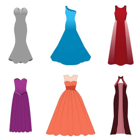 soiree: Fashionable dresses for graduation ball, party, soiree, cocktail. Vector illustration on a white background Illustration